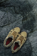 Hiking boots on rock
