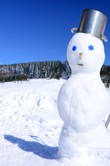 Winter fun scene with snowman
