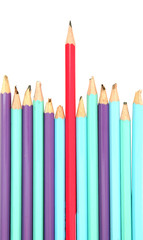 Red pencil - the leader concept isolated on a white background