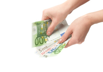 Close-up  Euro banknote in hand