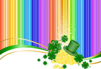 Leprechaun gold  and a hat on rainbow background with clover