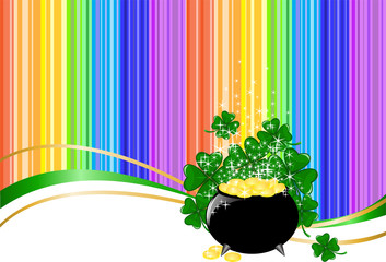 Leprechaun pot of gold on rainbow background with clover