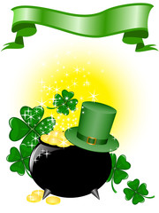 Leprechaun pot of gold and hat on a shimmering background