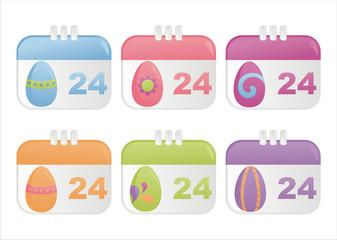 set of 6 easter calendar icons