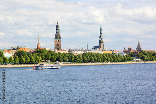 Panoramic view of Riga's old town and the Daugava river, Latvia