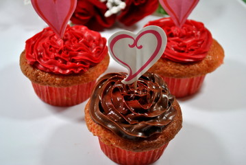 Three Heart Cupcakes