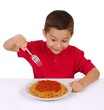 kid and spaghetti, on white background