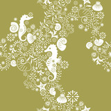 Seahorse and Floral Pattern poster