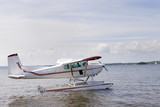 Single engine plane on a lake