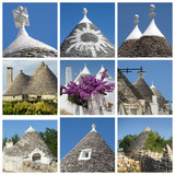 collage of trulli houses, Apulia, Italy