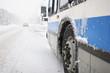 Leinwanddruck Bild - Montreal City Bus in a Blizzard