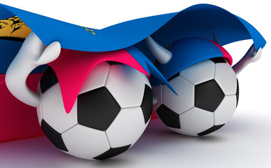 Two soccer balls hold Liechtenstein flag