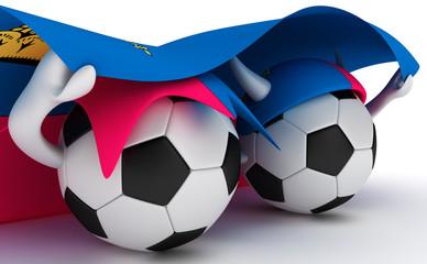 Two soccer balls hold Liechtenstein flag