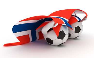 Two soccer balls hold Norway flag