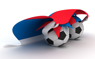 Two soccer balls hold Serbia flag