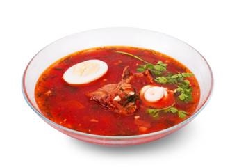 borsch in glass dish
