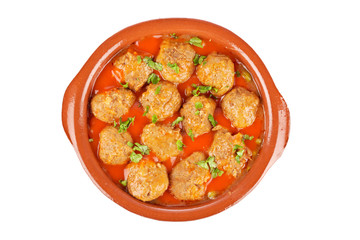 Fresh meatballs with peas