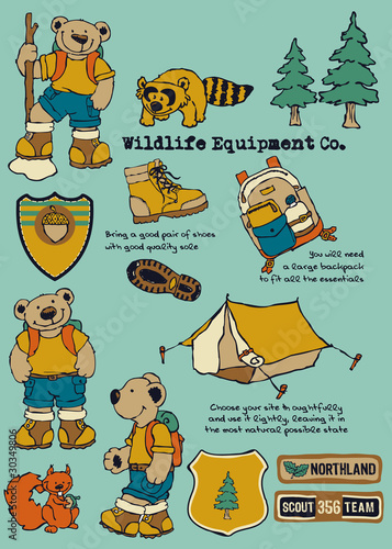 funny bear camping elements and labels
