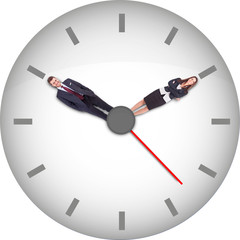A clock with businesspeople instead of hour and minute hands.