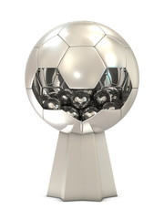 Silver soccer trophy with one big and group of small balls