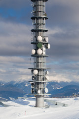 Communication antenna tower and satellite