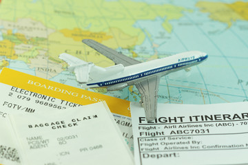 Travel abstract with flight itinerary