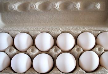 Dozen eggs in packing carton