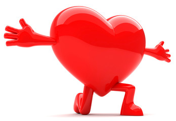 Heart shaped mascot with arms open wide