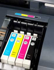 Closeup  of  printer ink cartridges for a color printer