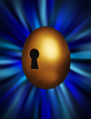 Golden egg with keyhole in a blue vortex