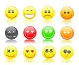 colorful smiles icon set