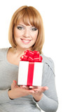 Young smiling woman with gift-box on white background