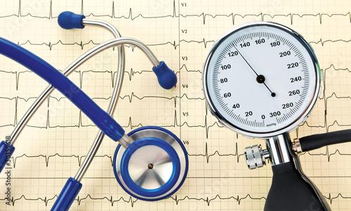 Blutdruck Kontrolle, Stethoskop und EKG Kurve