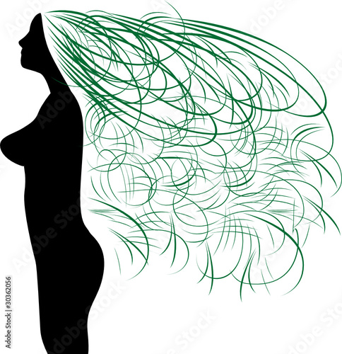 Girl silhouette symbol with beautiful long green hair