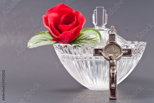 Cross and Holy Water Dish with Rose