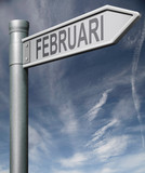 Februari road sign clipping path poster