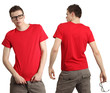 Male wearing blank red shirt