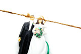 cake topper wedding couple with frayed string