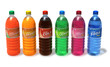 Set of refreshing drinks in plastic bottles