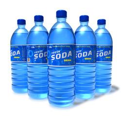 Set of soda drinks in plastic bottles