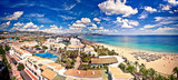 Aerial view on Playa d'en Bossa, Ibiza, Spain