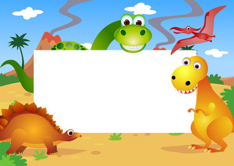 dinosaurs cartoon and white blank space