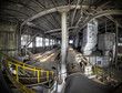 An overview of this factory hall at an abandoned factory. The da