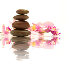 Spa stones and pink orchids