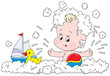 Bathing toddler