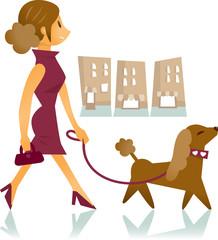 pretty woman walking a dog