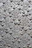 Old door with ornament in stone wall. Royal Wawel Castle. poster