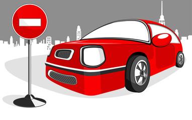 Red minicar car
