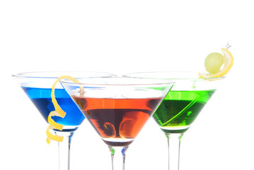 Colorful Martini Cocktails blue green and red