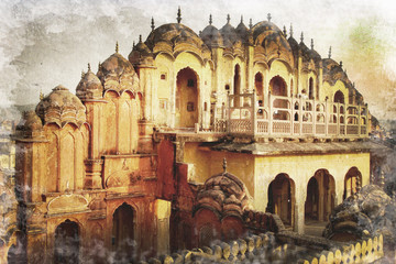 Palais des vents à Jaipur, Inde, style photo ancienne